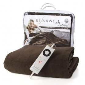 Dreamland Relaxwell Single Heated Throw - Chocolate Brown