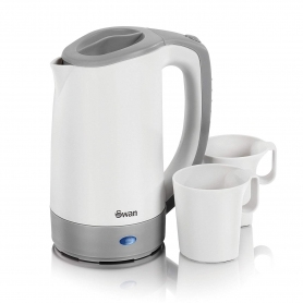 Swan Travel Kettle with Two Tea Cups - White