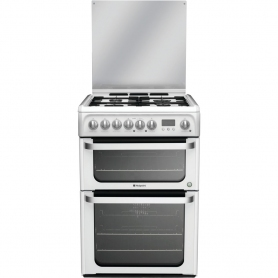Hotpoint 60cm Double Oven Dual Fuel Cooker - White