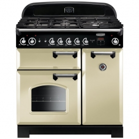 Rangemaster Classic 90cm Gas Range Cooker with Electric Fan Oven - Cream